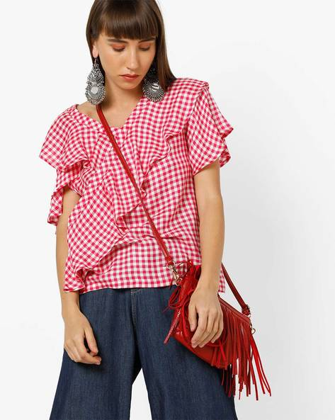 Checked Cold-Shoulder Top With Ruffles By Only ( Pink )