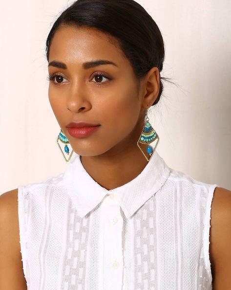 Beaded Brass Drop-Earrings By Indie Picks ( Multi )