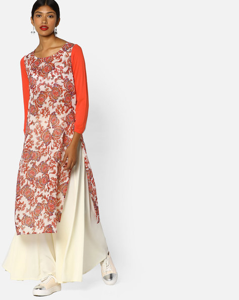 Printed Straight Kurta With Solid Sleeves By Melange By Lifestyle ( White )