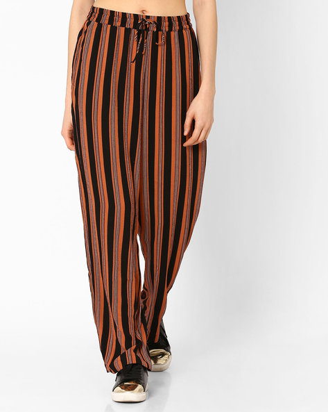 Striped Trousers With Tie-Up By Vero Moda ( Darkbrown )