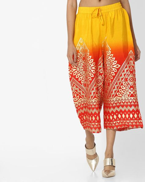 Printed Ombre-Dyed Culottes By Akkriti By Pantaloons ( Orange )