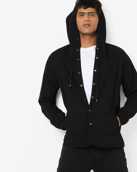 Hooded Shirt With Printed Back By AJIO ( Black )