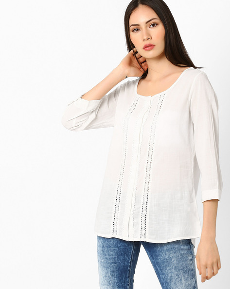 Cotton Top With Lace Inserts By Fame Forever By Lifestyle ( White )