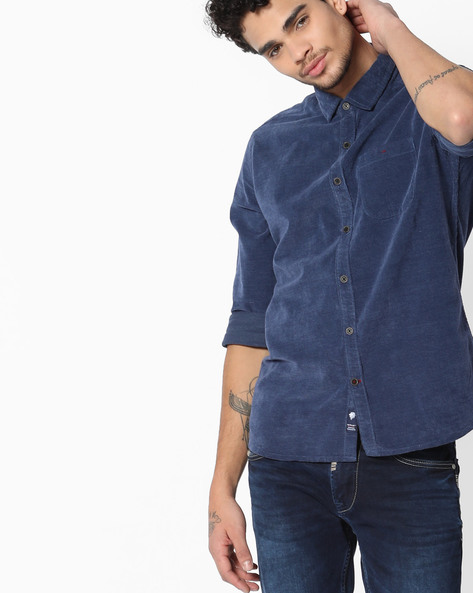 Slim Fit Denim Shirt By NETPLAY ( Navy )