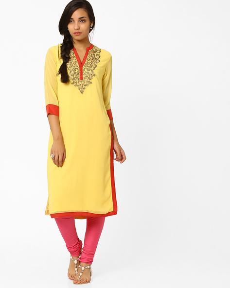 Kurta With Zari Embroidery By AJIO ( Yellow ) - 460008172002