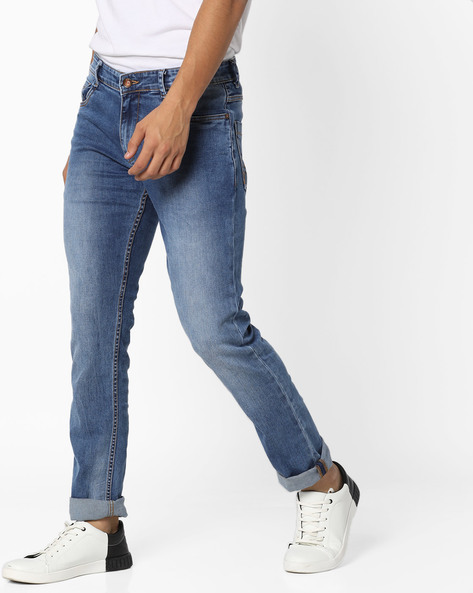 5-Pocket Slim Fit Tapered Jeans By AJIO ( Blue )