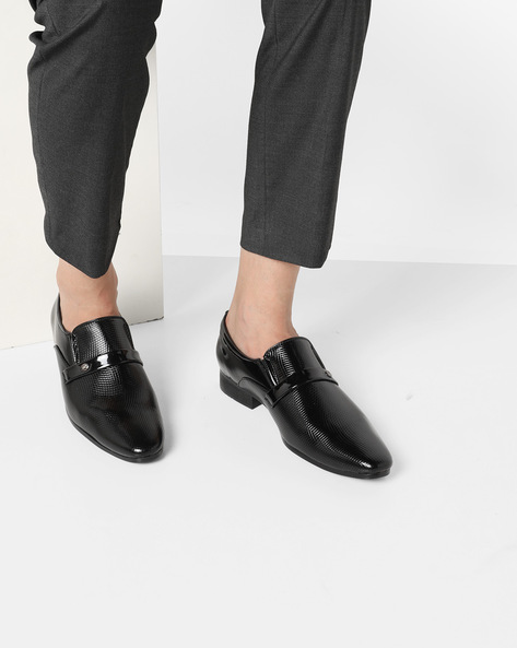 Textured Formal Shoes With Elasticated Gussets By GNX ( Black )