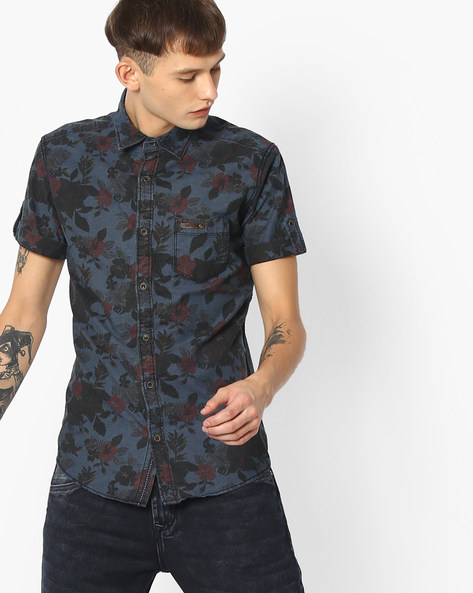 Floral Print Slim Fit Shirt By MUFTI ( Grey )