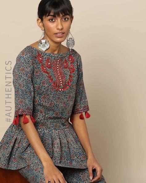 Handblock Print Ajrak Embroidered Flared Tunic By Indie Picks By AJIO ( Indigo )