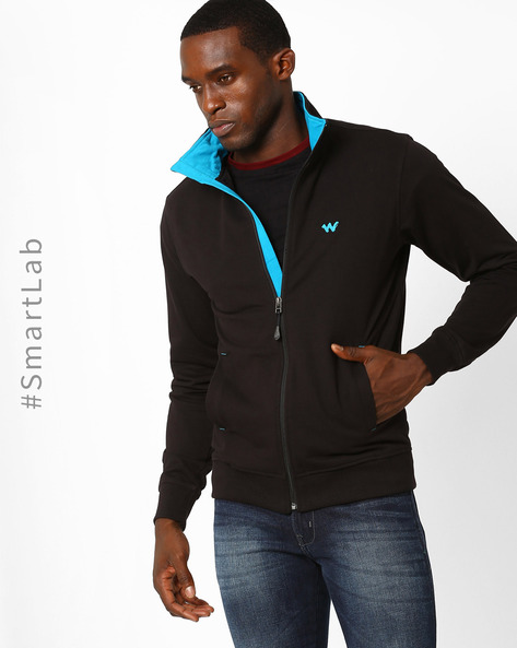 Relaxed Fit Sweatshirt With Front Zipper By Wildcraft ( Black )