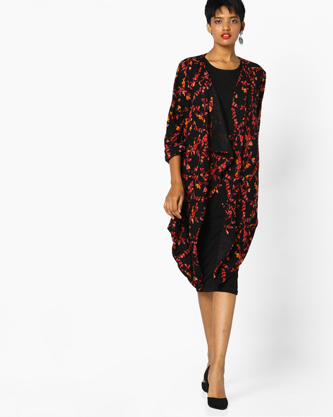 Printed Shrug With Waterfall Hem By PE IW Casual ( Black )
