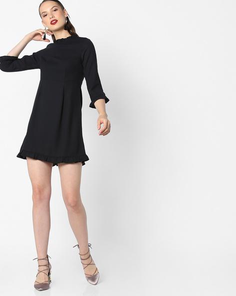 Skater Dress With Ruffled Hems By AJIO ( Black )