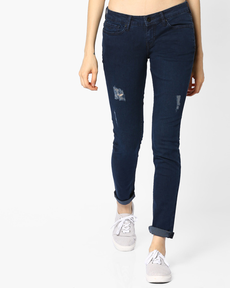 Distressed Skinny Jeans By Pepe Jeans ( Blue )