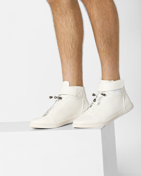 Mid-Top Sneakers With Velcro Strap By AJIO ( White )