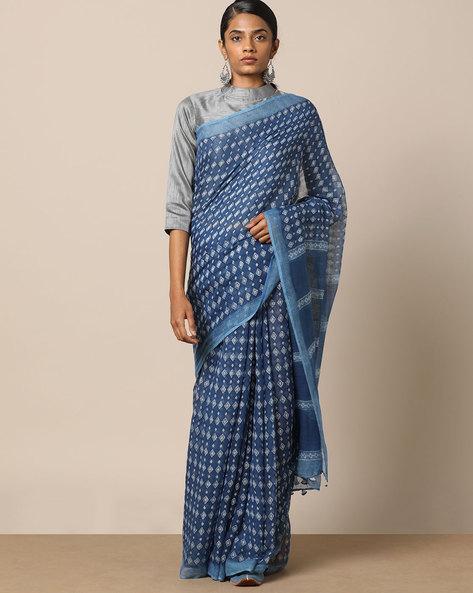 Indigo Handblock Print Kota Doria Saree With Zari By Indie Picks ( Indigo ) - 460137370001