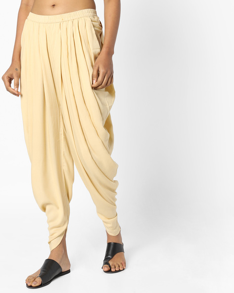 Dhoti Pants With Elasticated Waist By AJIO ( Beige )