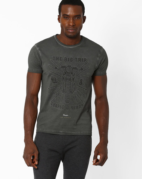 Embroidered True Wanderer T-shirt By WRANGLER ( Grey )