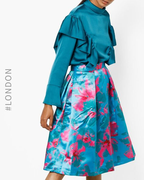 Floral Print Pleated Skirt By Closet London ( Multi )