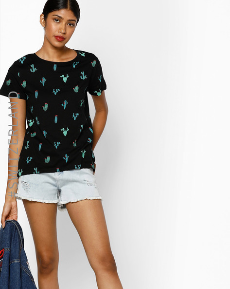 Graphic Print Crew-Neck T-shirt By TALLY WEiJL ( Black ) - 460089805003