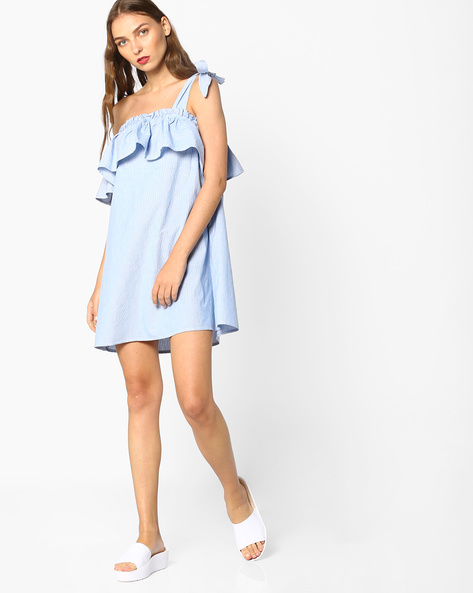 Off-Shoulder Shift Dress With Tie-Up Sleeves By AJIO ( Blue )