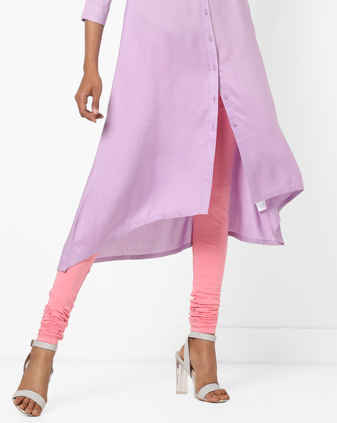 High-Rise Churidar Leggings By AJIO ( Pink )