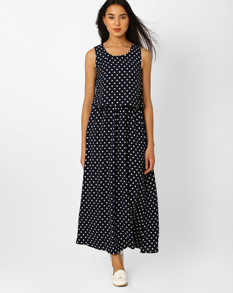 Polka-Dot Popover Maxi Dress By Recap ( Blue )