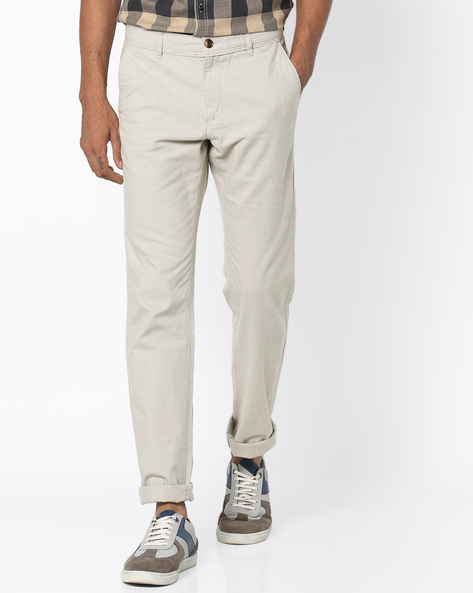 Dobby Tapered Fit Chinos By NETPLAY ( Stone )