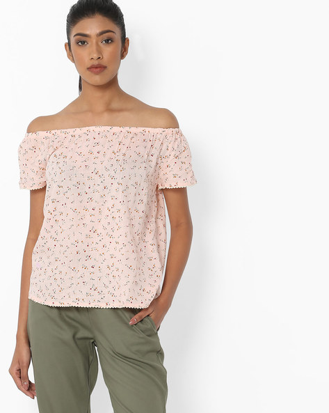 Floral Print Off-Shouldered Top By DNMX ( Pink )