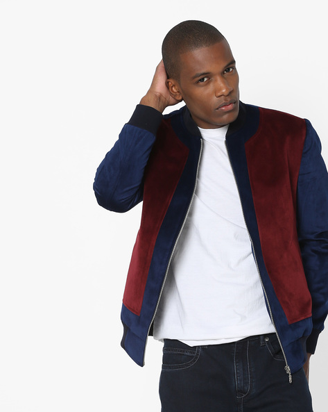 Slim Fit Bomber Jacket With Velvet Panel By MR.BUTTON ( Navyblue )