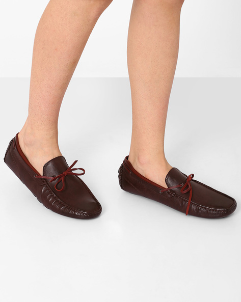 Moccasins With Mock Tie-Up By Spunk ( Maroon )
