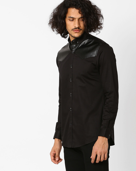 Structured Fit Shirt With Leather Detail By MR.BUTTON ( Black )