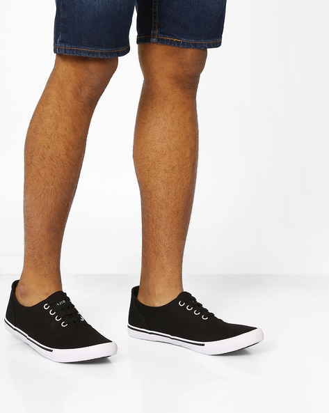 Canvas Lace-Up Sneakers By AJIO ( Black )