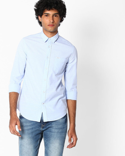 Slim Fit Cotton Shirt By Pepe Jeans ( Blue )