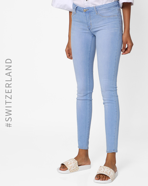 Woven Low-Rise Skinny Jeans By TALLY WEiJL ( Skyblue )
