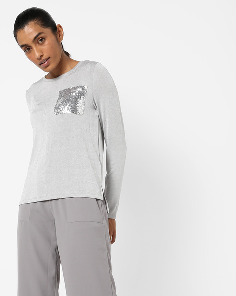 High-Low T-shirt With Sequinned Pocket By Only ( Grey )