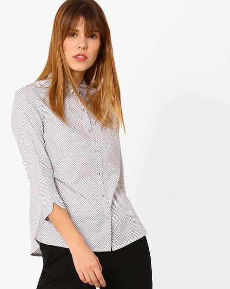 Printed Shirt With Curved Hem By Annabelle By Pantaloons ( White )