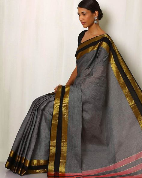 Mercerised Cotton Saree With Zari Border By Indie Picks ( Grey )