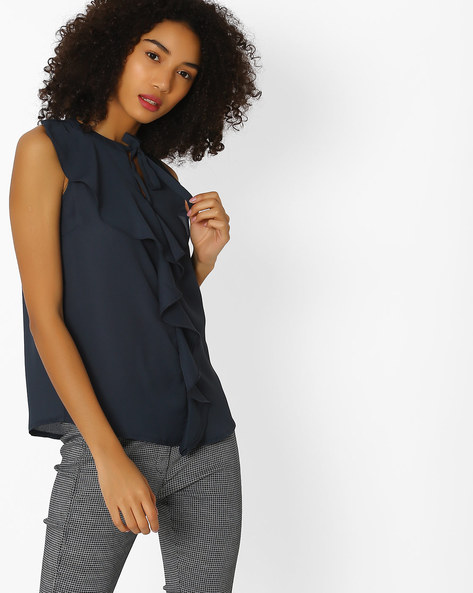 Ruffle Front Sleeveless Blouse By FIG ( Charcoal )