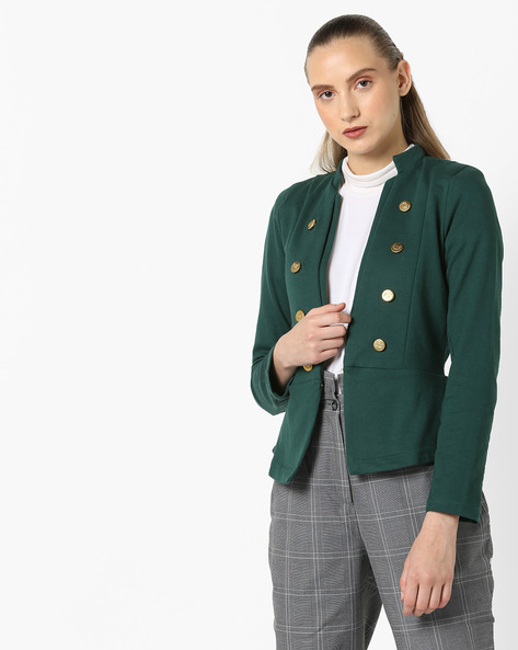 Embellished Jacket With Open Front By Ginger By Lifestyle ( Olive )
