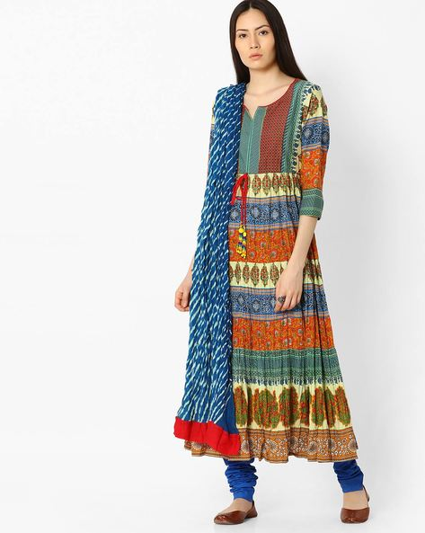 Printed Churidar Kurta With Dupatta By Rain & Rainbow ( Orange )