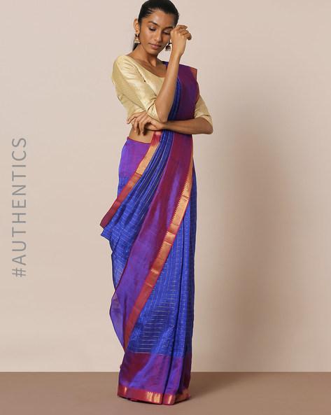 Handloom Pure Silk Cotton Mangalgiri Saree By Indie Picks ( Blue )