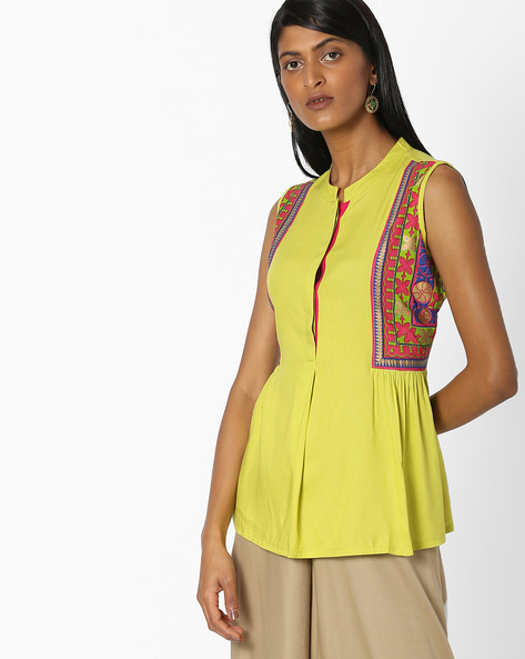 Sleeveless Top With Printed Panels By Indian Ink ( Limegreen )