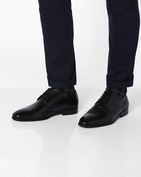 Genuine Leather Lace-Up Formal Shoes By RED TAPE ( Black )