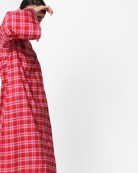 Printed Flared Kurta With Bell Sleeves By AJIO ( Red )