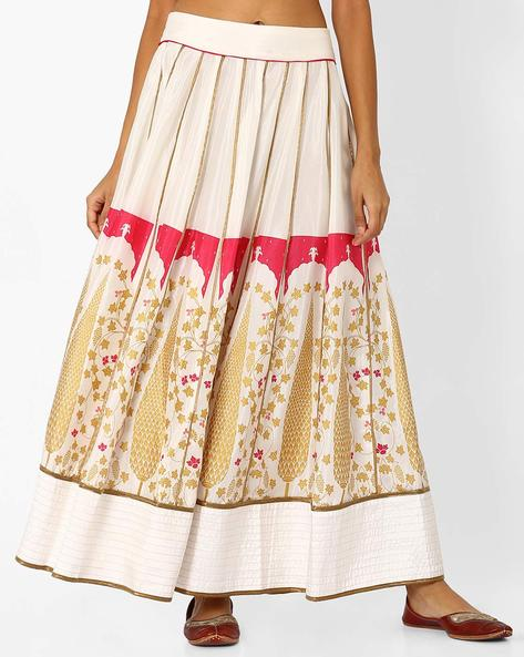 Printed Flared Maxi Skirt By W ( White )