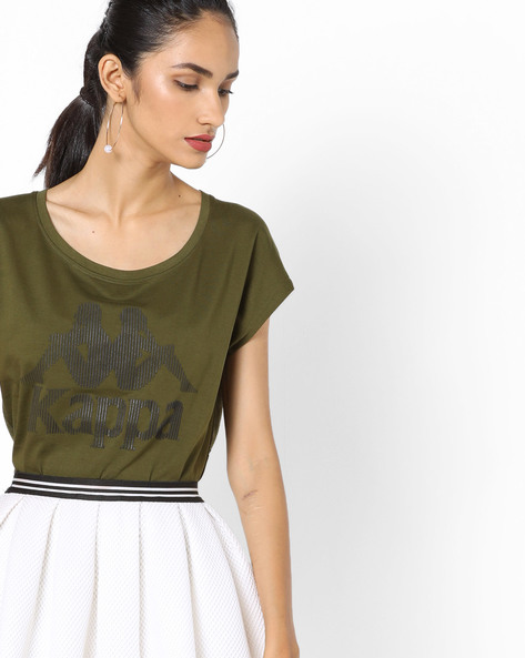 Cotton Top With Printed Branding By KAPPA ( Olive )