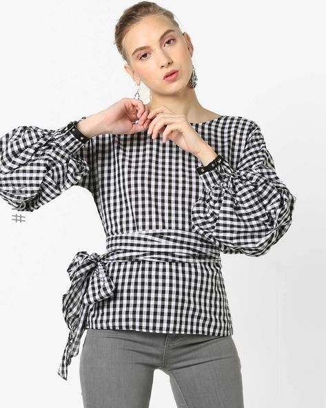 Checked Top With Bishop Sleeves By OEUVRE ( Blackwhite )