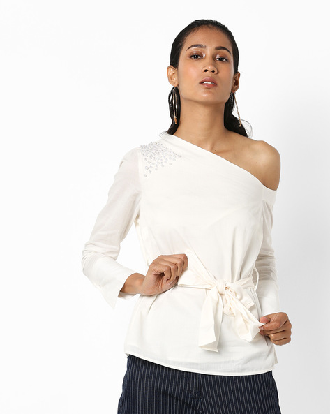 Embellished One-Shoulder Top With Tie-Up By Vero Moda ( White )