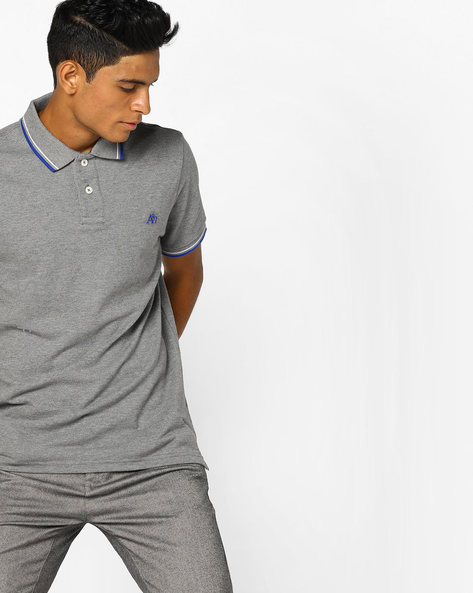 Cotton Polo T-shirt With Contrast Tipping By Aeropostale ( Greymelange )