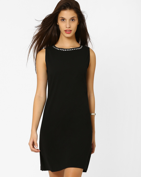 A-Line Dress With Embellished Neckline By AJIO ( Black )